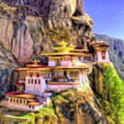 Monastery In Bhutan Art Print