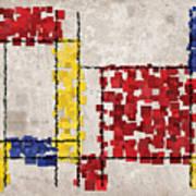 Mondrian Inspired Squares Art Print by Michael Tompsett