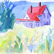 Monhegan Light And Hill Art Print