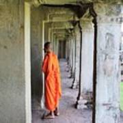 Monk Among The Ruins At Angkor Wat, Cambodia Art Print