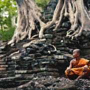 Monk At Preah Palilay Temple Art Print