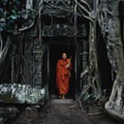 Monk At  Ta Prohm Temple  Art Print