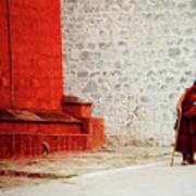 Monk In Tashilhunpo Monastery Shigatse Tibet Yantra.lv Art Print