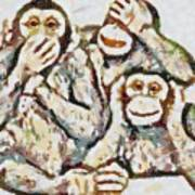 Monkey See Monkey Do Fragmented Art Print