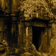 Monks Leaving Angkor Wat Art Print