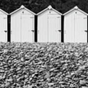 Monochrome Beach Huts Art Print