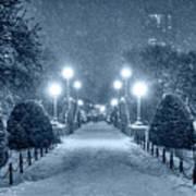 Monochrome Blue Nights Boston Public Garden Snow Storm Ma Massachusetts Bridge Lights Art Print