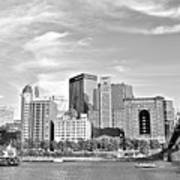 Monochrome Pittsburgh Panorama Art Print