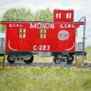 Monon Wood Caboose Train C 283 1950s Art Print