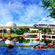 Monorail Red - Coming 'round The Bend Art Print