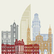 Montevideo Skyline Poster Art Print