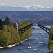 Montlake Bridge And Cascade Mountains Art Print by C. Chase Taylor