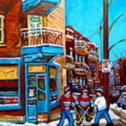 Montreal City Scene Hockey At Wilenskys Art Print