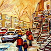 Montreal City Scene In Winter Art Print
