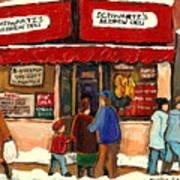Montreal Hebrew Delicatessen Schwartzs By Montreal Streetscene Artist Carole Spandau Art Print