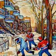 Montreal Hockey Game With 3 Boys Art Print