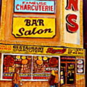 Montreal Paintings Dunns Restaurant Streets Of Montreal Art Print