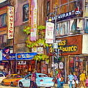 Montreal St.catherine Street Corner Peel Art Print