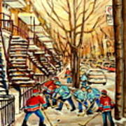 Montreal Street Hockey Paintings Art Print