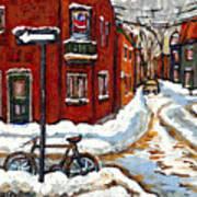 Montreal Street In Winter La Ville En Hiver Buy Montreal Paintings Petits Formats Peintures A Vendre Art Print