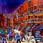 Montreal Street Scene Paintings Hockey On De Bullion Street   Art Print