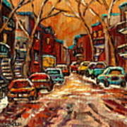 Montreal Streets In Winter Art Print