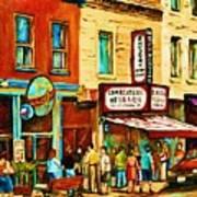 Montreal Streetscene Artist Carole Spandau Paints Schwartzs Main Street Hustle Bustle Art Print