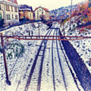 Montreux, Tracks In The City. Art Print