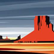 Monument Valley Sunset Digital Realism Art Print