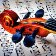 Moody Violin Scroll On Sheet Music Art Print