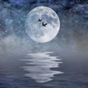 Moon And Sea Art Print