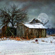 Moon Light Barn Art Print