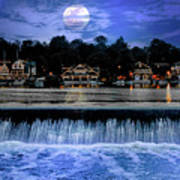 Moon Light - Boathouse Row Philadelphia Art Print