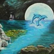 Moon Light Swim  Art Print