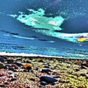 Moon Lit Beach, Bray, Wicklow, Ireland, Poster Effect1b Art Print