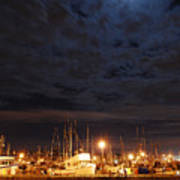 Moon Over Fishermans Terminal Art Print