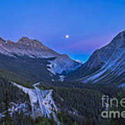 Moon Over Icefields Parkway In Alberta Art Print