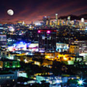 Moon Over Los Angeles Art Print