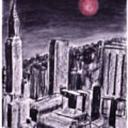 Moon Over Manhattan Art Print