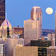 Moon Over Pittsburgh 2 Art Print by Emmanuel Panagiotakis
