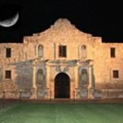 Moon Over The Alamo Print by Carol Groenen