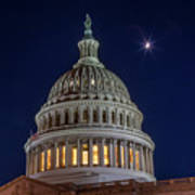 Moon Over The Washington Capitol Building Art Print