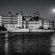 Moon Over Udaipur Bw Art Print