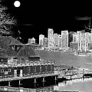 Moon Over Vancouver Art Print