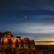 Moon Rise At Pillars Of Rome, Oregon, Usa Art Print