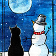Moon Watching With Snowman - Christmas Cat Art Print