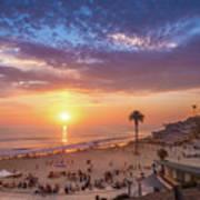 Moonlight Beach Sunset Art Print