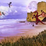 Moonlight Dragon Attack Art Print