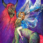 Moonlight Fairy And Her Horned Horse Art Print