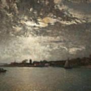 Moonlight Mood, The Stockholm Inlet  Art Print